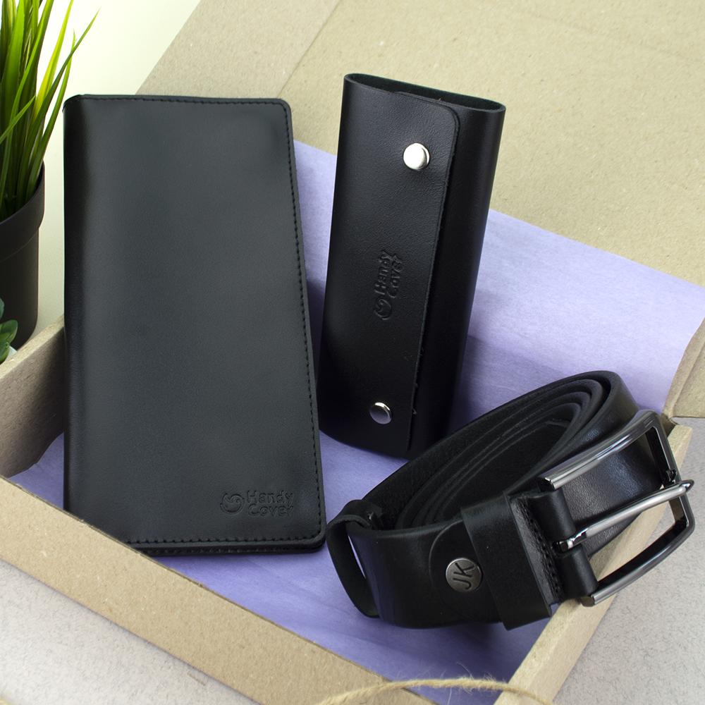 Подарочный набор мужской HandyCover №52: Кошелек + ключница + ремень (черный)