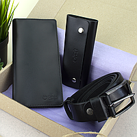 Подарочный набор мужской HandyCover №52: Кошелек + ключница + ремень (черный), фото 1