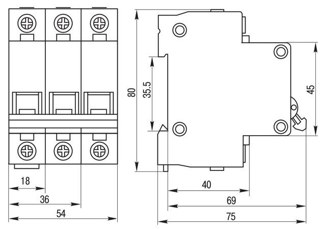 Автоматический выключатель ВА 47-29 3Р 20А ИЭК