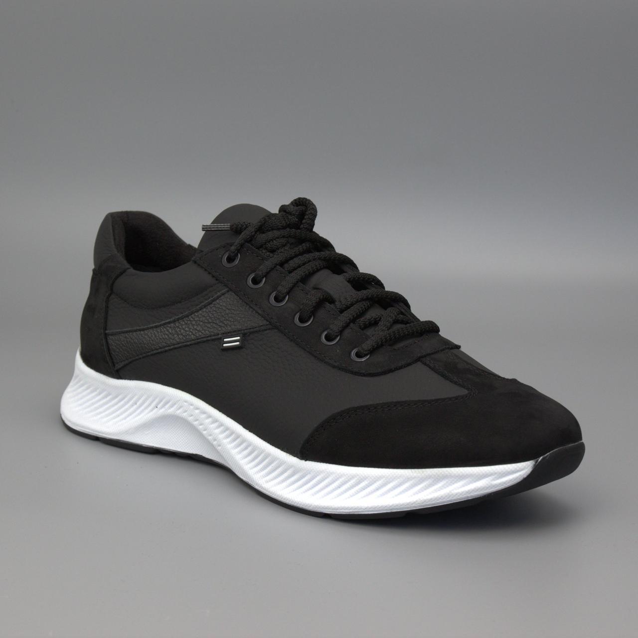 Кроссовки мужские кожаная обувь больших размеров черные матовые Rosso Avangard DolGa Run Monza Black Mate BS