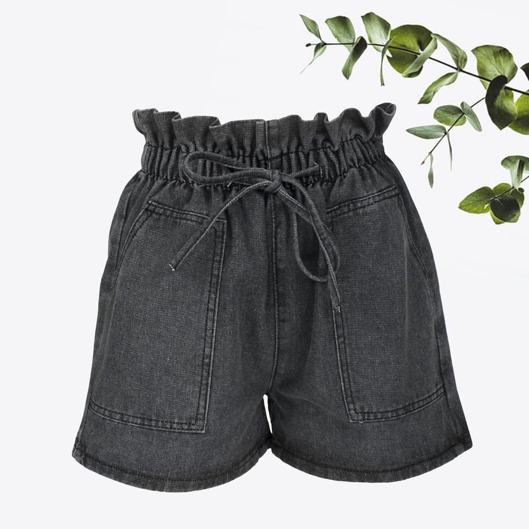 Шорты женские джинсовые темно-серые с высокой талией и карманами, деним размер S