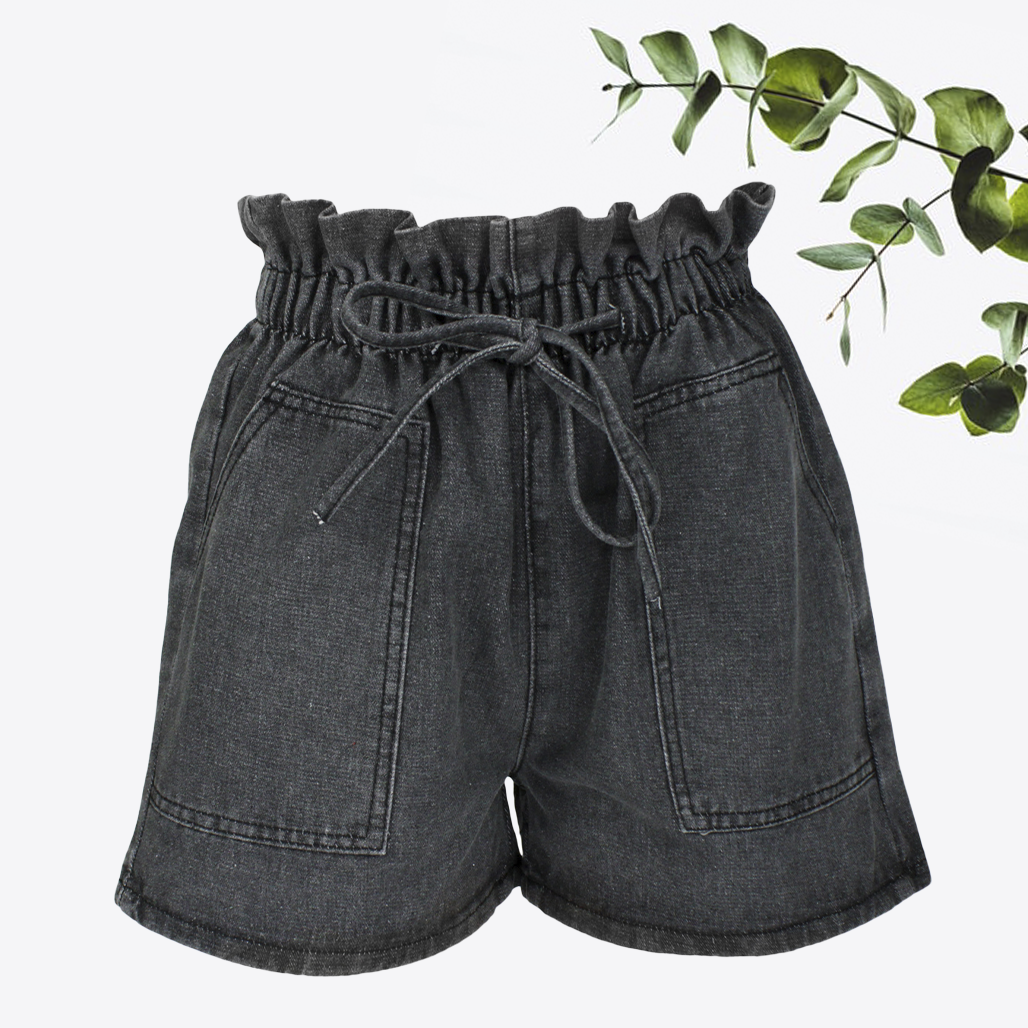 Шорти жіночі джинсові темно-сірі з високою талією і кишенями, денім розмір L