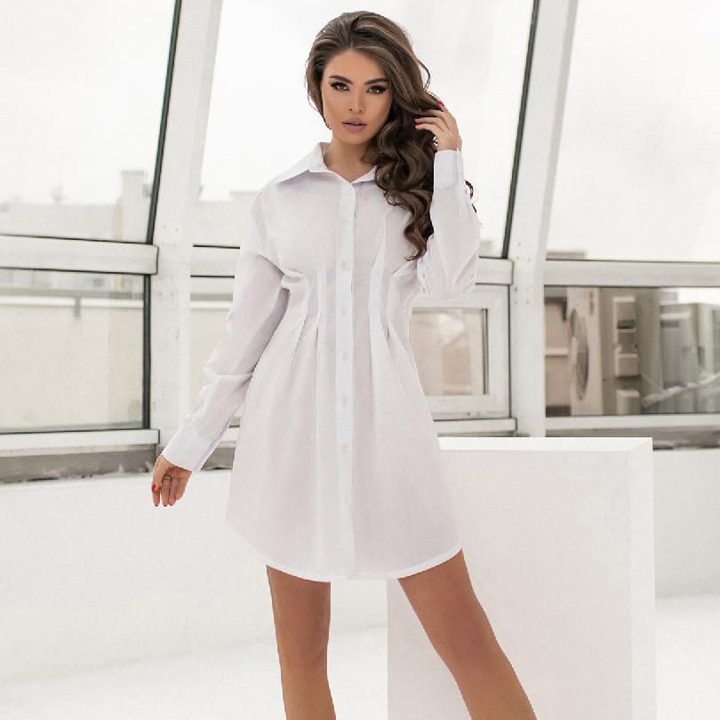 Коротка приталена сукня-сорочка на ґудзиках