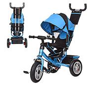 Велосипед-коляска детский трехколесный Резиновые колеса Turbo Trike M 3113-5A с родительской ручкой голубой