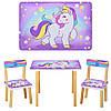 Детский стол с двумя стульчиками Bambi 501-44-2 Единорог сиреневый