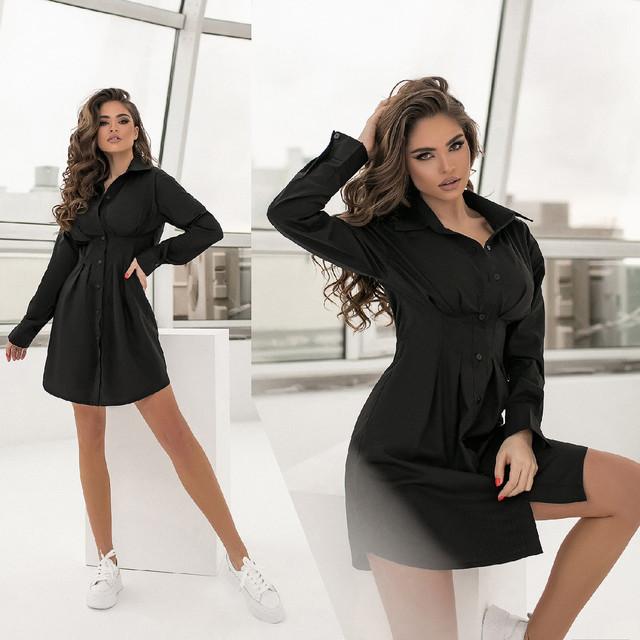 Короткое приталенное платье-рубашка на пуговицах