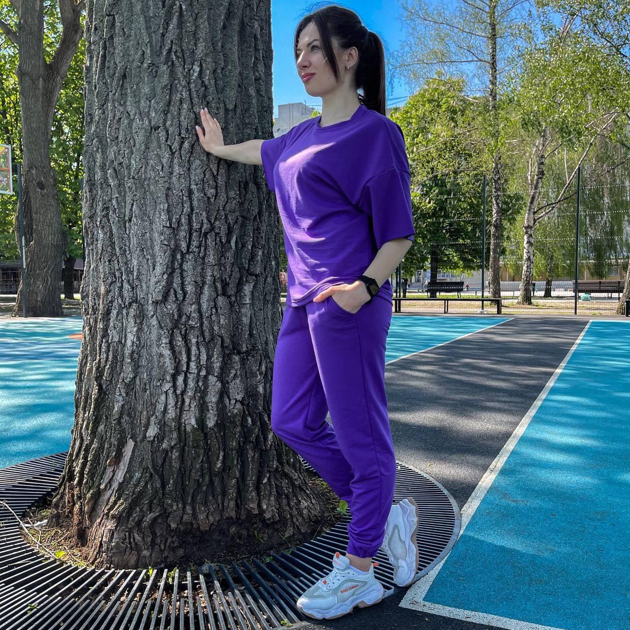 Женский летний костюм футболка+штаны, фиолетовый
