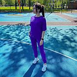 Женский летний костюм футболка+штаны, фиолетовый, фото 2