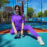 Женский летний костюм футболка+штаны, фиолетовый, фото 3