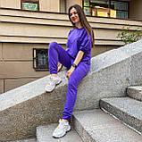 Женский летний костюм футболка+штаны, фиолетовый, фото 5