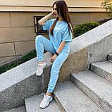 Женский летний костюм футболка+штаны, голубой, фото 4