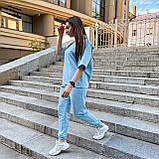 Женский летний костюм футболка+штаны, голубой, фото 5