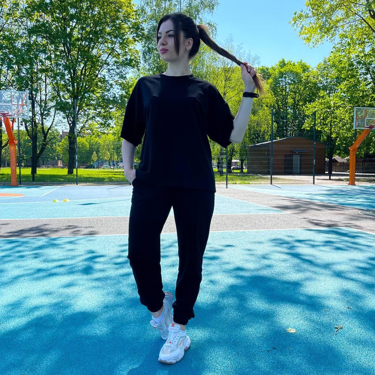 Женский летний костюм футболка+штаны, черный