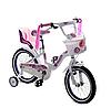 Велосипед детский двухколесный TAYLOR 1701-16 колеса 16 дюймов с корзинкой и сидением для куклы / белый
