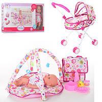 Функциональный кукла пупс для девочки с коляской 86926 звук пьет-писяет коврик для младенца сумка