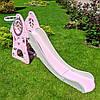 Детская горка пластиковая BAMBI SLW-G-8 с баскетбольным кольцом серо-розовая Домик**