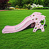 Детская горка пластиковая BAMBI WM19021-8 с баскетбольным кольцом Олененок розовая