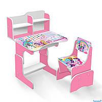 Детская парта школьная со стулом Литл Пони ЛДСП ПШ 018 с пеналом розовая