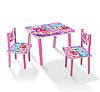 Детский мини столик деревянный с двумя стульчиками C 088 Барби / цвет розовый