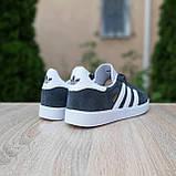 Чоловічі кросівки Adidas Gazelle сірі з білим, фото 2