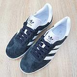Чоловічі кросівки Adidas Gazelle сірі з білим, фото 3