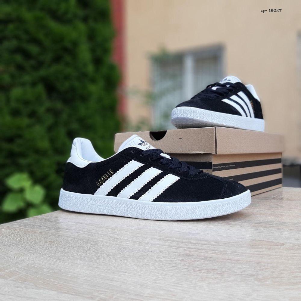 Мужские кроссовки Adidas Gazelle Чёрные с белым