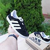 Мужские кроссовки Adidas Gazelle Чёрные с белым, фото 2