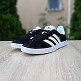 Мужские кроссовки Adidas Gazelle Чёрные с белым, фото 3