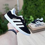 Мужские кроссовки Adidas Gazelle Чёрные с белым, фото 4