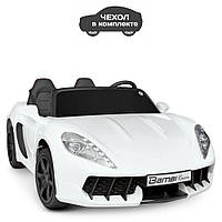 Детский двухместный электромобиль машина в чехле Porsche M 4055AL-1 Без Пульта Управления / цвет белый**