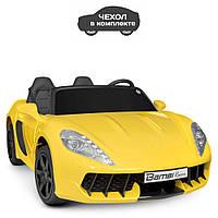 Детский двухместный электромобиль машина в чехле Porsche M 4055AL-6 Без Пульта Управления / цвет желтый**