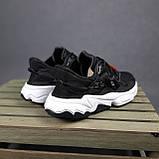 Чоловічі кросівки Adidas Ozweego TR чорні на білому, фото 3