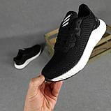 Мужские кроссовки Adidas чёрные на белой, фото 2