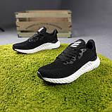 Мужские кроссовки Adidas чёрные на белой, фото 5