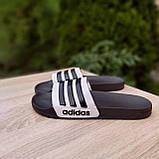 Шльопанці чоловічі Adidas чорні з білим, фото 2