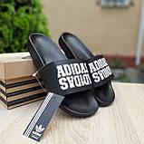 Шльопанці чоловічі Adidas чорні з білим, фото 4