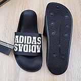Шльопанці чоловічі Adidas чорні з білим, фото 5