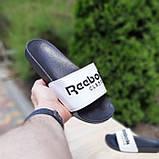 Мужские шлепанцы Reebok черные с белым, фото 2