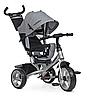 Велосипед-коляска детский трехколесный Ева колеса Turbo Trike M 3113-19L с родительской ручкой серый лен**