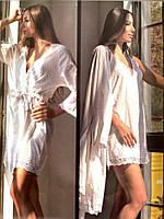 Халат с ночной рубашкой Maison Dor Aveedon Giselle Long хлопок белый, фото 1