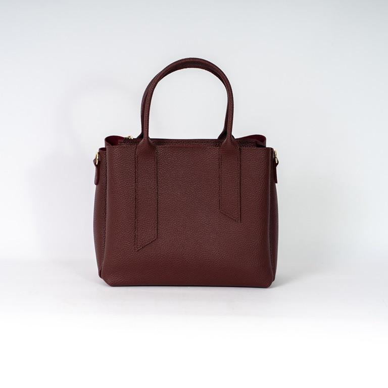 Бордова жіноча сумка K25-20/3 з двома ручками і ремінцем три відділення
