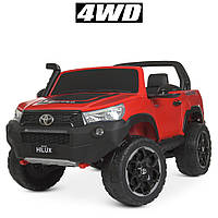 Детский двухместный электромобиль Джип 4WD M 4552(MP4)EBLRS-3 Toyota лиценз. с планшетом /автопокраска красный