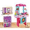 Дитячий ігровий набір інтерактивна кухня 3830-40 плита мийка духовка посуд продукти звук, світло рожева