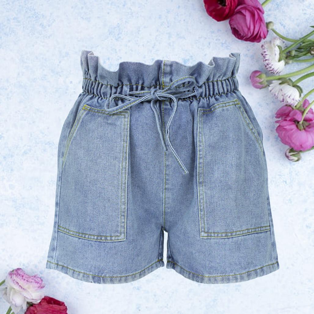 Шорты женские джинсовые голубые с высокой талией и карманами размер M