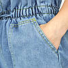 Шорты женские джинсовые голубые с высокой талией и карманами размер M, фото 5