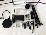Студійний мікрофон Green Audio BM-800 зі звуковою картою V8w стійкою і вітрозахистом, фото 3