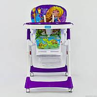 Дитячий стільчик для годування від народження JOY J 5500 біло-фіолетовий, фото 1