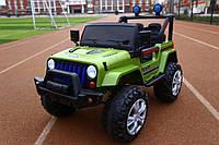 Детский двухместный электромобиль на управлении Джип Jeep T-7843 на EVA колесах с MP3 / зеленый