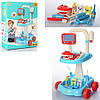 Игровой набор доктор 9901-2A Стоматолог медицинские инструменты свет тележка голубой