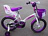 Детский велосипед для девочек с корзиной и креслом для куклы KIDS BIKE CROSSER-3 колеса 16 дюймов фиолетовый